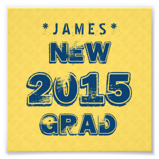 Yellow and Blue 2015 or Any Year Graduation Z90 Photo Print