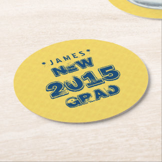 Yellow and Blue 2015 or Any Year Graduation Z90 Round Paper Coaster