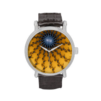 Yellow and blue abstract art watch