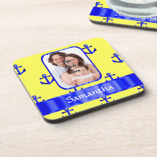 Yellow and blue anchor pattern coaster