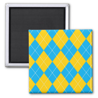 Yellow and Blue Argyle Pattern Magnet