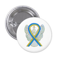 Yellow and Blue Awareness Ribbon Angel Pin Button