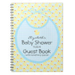 Yellow and Blue Baby Bib-Baby Shower Guest Book- Notebook