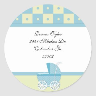 Yellow and Blue Baby Carriage Address Stickers sticker