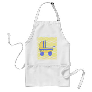 Yellow and Blue Baby Stroller. Adult Apron
