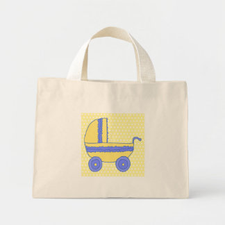 Yellow and Blue Baby Stroller. Mini Tote Bag
