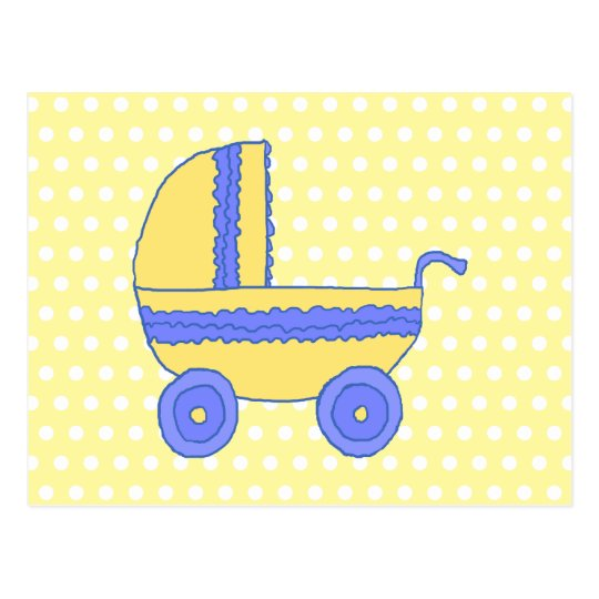Yellow and Blue Baby Stroller. Postcard