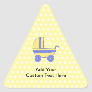 Yellow and Blue Baby Stroller. Triangle Sticker
