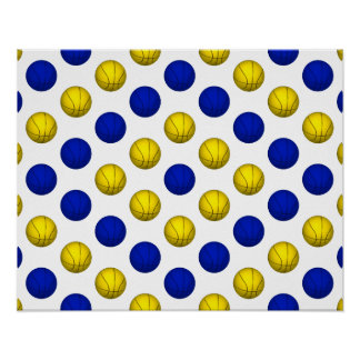 Yellow and Blue Basketball Pattern Poster