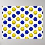 Yellow and Blue Basketball Pattern Print