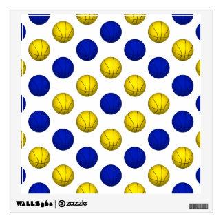 Yellow and Blue Basketball Pattern Wall Sticker