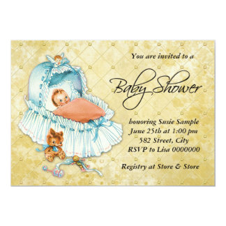 Yellow and Blue Boys Vintage Baby Shower Personalized Announcements