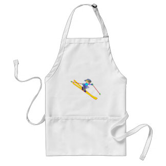 Yellow and Blue Cartoon Skier Going Downhill Adult Apron