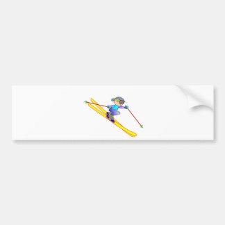 Yellow and Blue Cartoon Skier Going Downhill Bumper Sticker