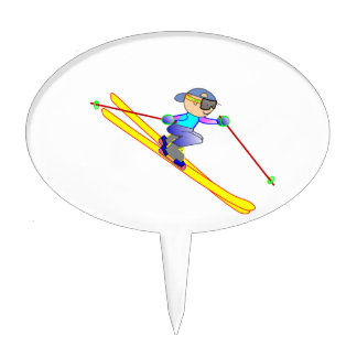 Yellow and Blue Cartoon Skier Going Downhill Cake Topper