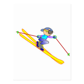 Yellow and Blue Cartoon Skier Going Downhill Postcard