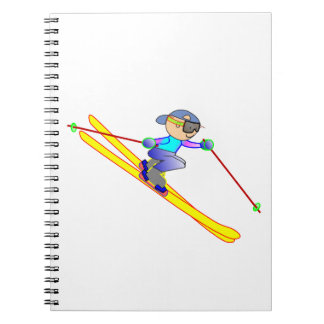Yellow and Blue Cartoon Skier Going Downhill Spiral Notebook
