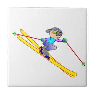Yellow and Blue Cartoon Skier Going Downhill Ceramic Tiles