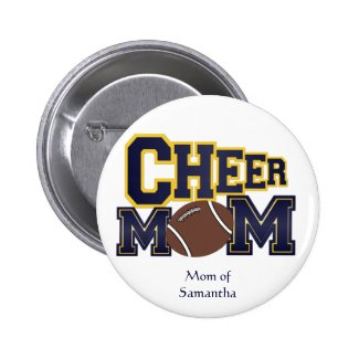 Yellow and Blue Cheer Mom Button