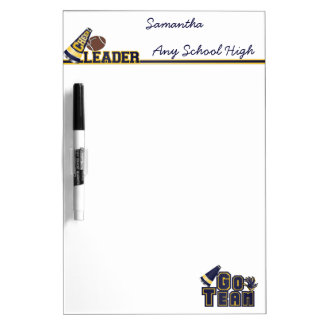 Yellow and Blue Cheerleader Dry Erase Board