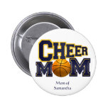 Yellow and Blue Cheerleader Mom Button