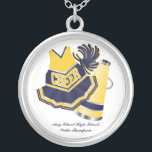 """Yellow and Blue Cheerleading Necklace<br><div class=""""desc"""">This cute necklace is perfect for any cheerleader.  It features a blue and yellow dress,  megaphone and pom-poms.  You customize the text at the bottom.</div>"""