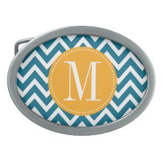 Yellow and Blue Chevron Custom Monogram Oval Belt Buckle