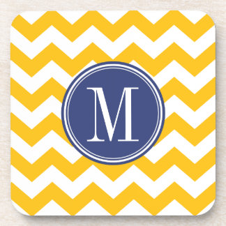 Yellow and Blue Chevron Pattern with Monogram Drink Coaster