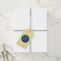 Yellow and Blue Chevron Pattern with Monogram Gift Tags