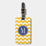 Yellow and Blue Chevron Pattern with Monogram Bag Tags