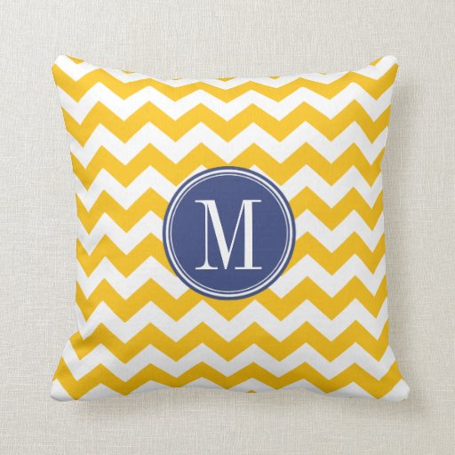 Throw Pillows Yellow And Blue : Yellow and Blue Chevron Pattern with Monogram Throw Pillow Zazzle