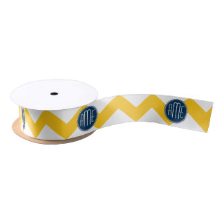 Yellow and Blue Chevron Pattern with Monogram Satin Ribbon