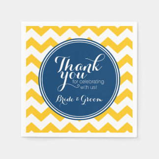 Yellow and Blue Chevron Pattern with Monogram Disposable Napkins