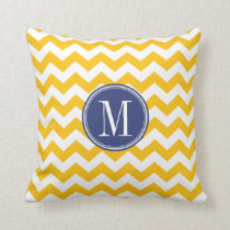 Yellow and Blue Chevron Pattern with Monogram Throw Pillow