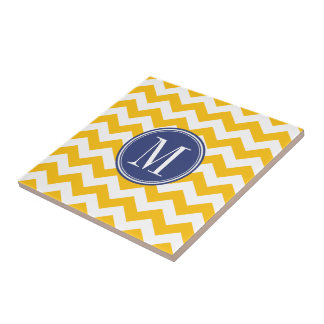 Yellow and Blue Chevron Pattern with Monogram Tile