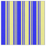 [ Thumbnail: Yellow and Blue Colored Lined/Striped Pattern Fabric ]