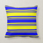 [ Thumbnail: Yellow and Blue Colored Lined/Striped Pattern Throw Pillow ]