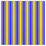 [ Thumbnail: Yellow and Blue Colored Striped/Lined Pattern Fabric ]