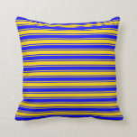 [ Thumbnail: Yellow and Blue Colored Striped/Lined Pattern Throw Pillow ]