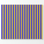 [ Thumbnail: Yellow and Blue Colored Striped/Lined Pattern Wrapping Paper ]