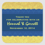 Yellow and Blue Damask Thank You Wedding R326 Stickers