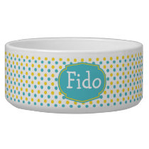 Yellow and Blue Dot Patterned Custom Name Bowl