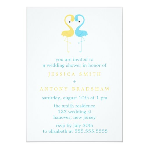 Yellow and Blue Flamingos Couples Wedding Shower Card