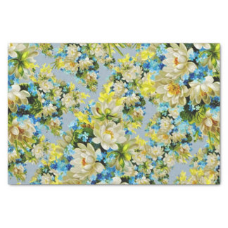 "Yellow and Blue Floral 10"" X 15"" Tissue Paper"