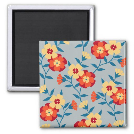 Yellow and Blue Floral Modern Magnet Refrigerator Magnets