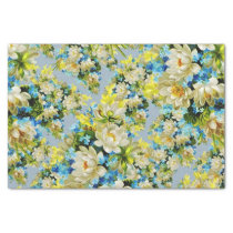 Yellow and Blue Floral Tissue Paper