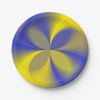 Yellow and Blue Four Leaves Paper Plate