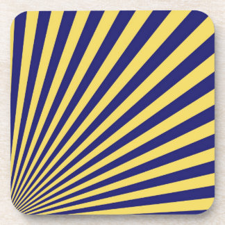 Yellow and Blue Funky Striped Abstract Art Coaster