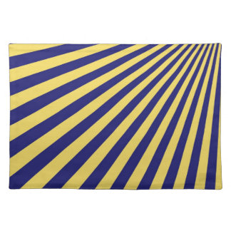 Yellow and Blue Funky Striped Abstract Art Placemat