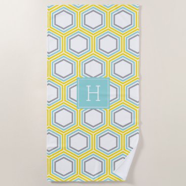 Beach Themed Yellow and Blue Geometric Pattern and Monogram Beach Towel